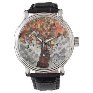 Willowcatdesigns著紅葉のコラージュの腕時計 腕時計