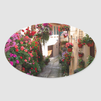 Windows、バルコニーおよび花の細道 楕円形シール