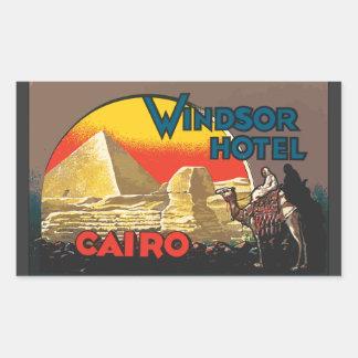 Windsorのホテルカイロのヴィンテージ 長方形シール
