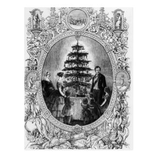Windsorの城1848年のクリスマスツリー ポストカード
