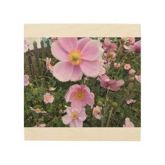 Windsorイギリスの美しいピンクの花 ウッドウォールアート