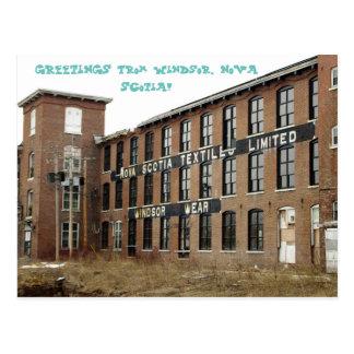Windsor、ノバスコシアの織物工場の郵便はがき ポストカード