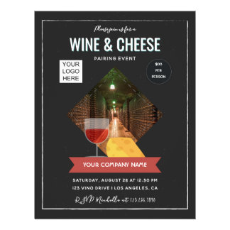 Wine And Cheese Pairing Event add photo and logo チラシ