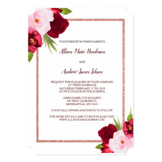Wine Roses and Watercolor Wedding invitation カード