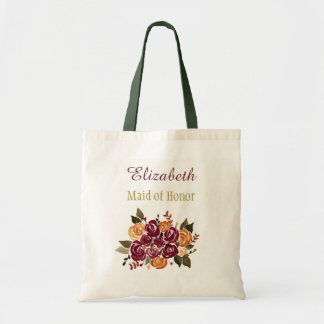 Wine Roses Floral Bridal Bridesmaid with Name トートバッグ
