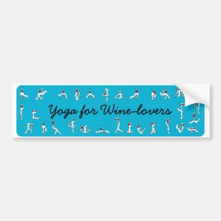 Wineloversの青のバンパーステッカーのためのヨガ バンパーステッカー