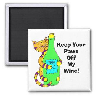"""WineyCatは""""私のワインを離れて保ちますあなたの足を"""" マグネット"""