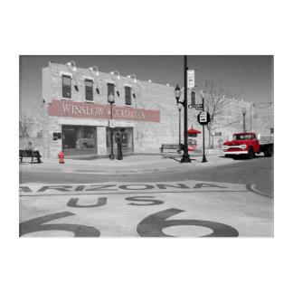Winslowアリゾナの赤いしぶきの写真 アクリルウォールアート