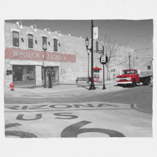 Winslowアリゾナの赤いしぶきの写真 フリースブランケット