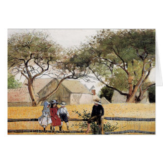 Winslowホーマー著塀の子供 カード