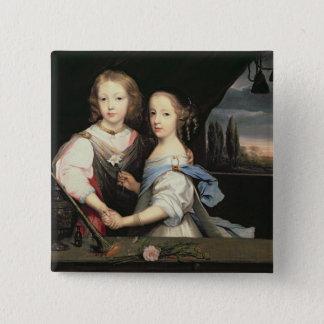 WinstonおよびArabella (1648-1730年の) Churcのポートレート 5.1cm 正方形バッジ