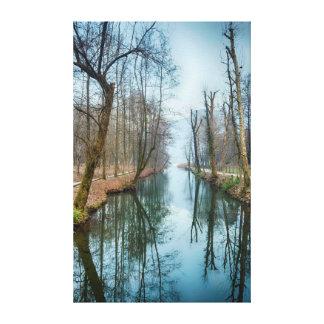 wInter湖の反射の景色のキャンバス キャンバスプリント