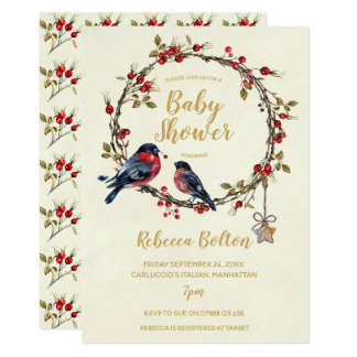 winter berries holly wreath baby shower invitation カード