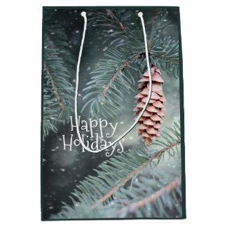 Winter Elegance Medium Size Holiday Gift Bag ミディアムペーパーバッグ