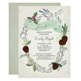 Winter Greenery Bridal Shower Invitation カード