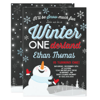 Winter ONEderland Birthday Invitation Snowman Blue カード