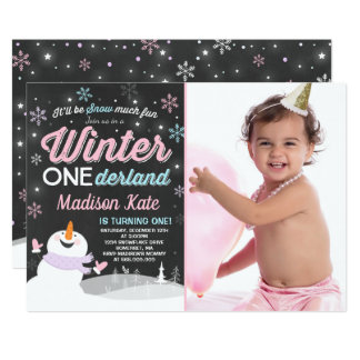 Winter ONEderland Birthday Invitation Snowman Pink カード