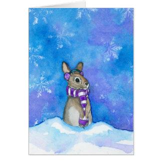 Winter Rabbit Snowflakes by Bihrle カード