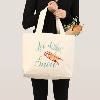 Winter Sled Let It Snow Text Design ラージトートバッグ