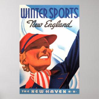 Winter Sports New England New Haven Railroad ポスター