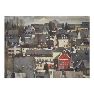 Winter Village with One Red House Digital Oil ポスター