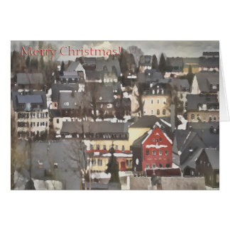 Winter Village with One Red House Merry Christmas カード