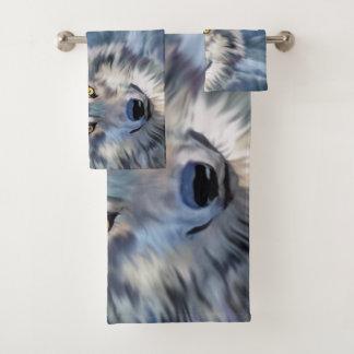 Winter Wolf Full Moon Print バスタオルセット