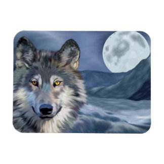 Winter Wolf Full Moon Print マグネット