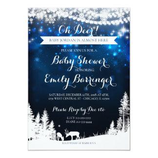 Winter Wonderland Starry Night Deer Baby Shower カード