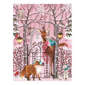 Winter Woodland Animals | Holiday Post Card ポストカード