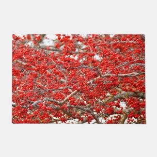 Winterberryのヒイラギ木の果実 ドアマット