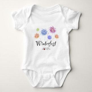 Winterfestの花火の綿のジャージーの乳児のクリーパー ベビーボディスーツ