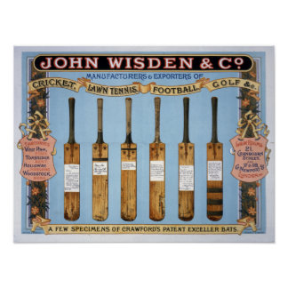 Wisdenのクリケット用バット1895年 プリント