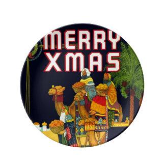 Wisemenの3メリークリスマスのクリスマスのヴィンテージの芸術 磁器プレート