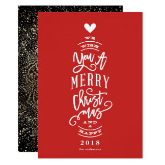 Wish You Merry Christmas Happy Year No Photo Card カード