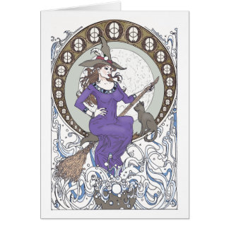 Witch Art Nouveau Blank Greeting Card カード