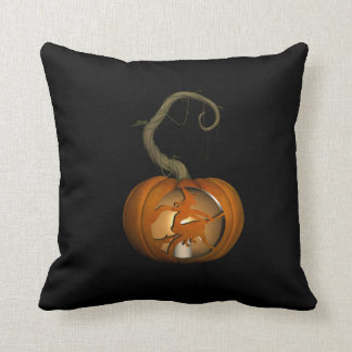 Witch on Broomstick Carved Pumpkin Throw Pillow クッション