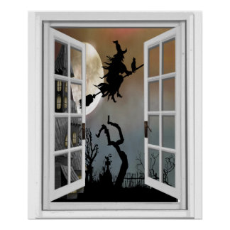 Witch On Broomstick Window View Halloween ポスター