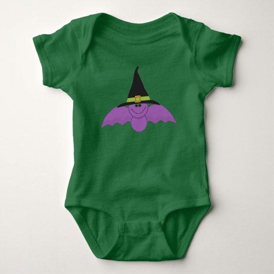 Witchsの帽子が付いているこうもり ベビーボディスーツ