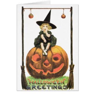 Witchyの女性のヴィンテージハロウィン カード