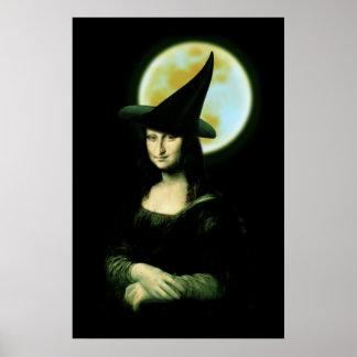 Witchyの女性モナ・リザハロウィン ポスター