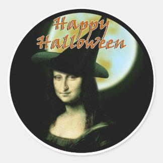 Witchyの女性モナ・リザハロウィン ラウンドシール