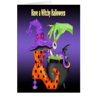 Witchyハロウィンの挨拶状 カード