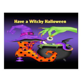 Witchyハロウィンの郵便はがき ポストカード