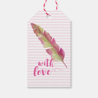 with Love | Pink and Green Boho Feather Gift tags ギフトタグ