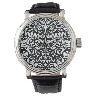Wojoh B&Wの黒いヴィンテージの革 腕時計