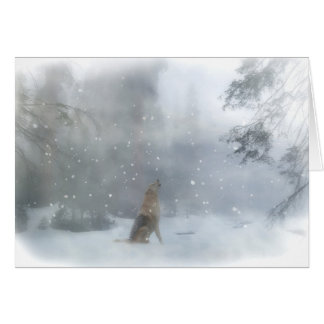 Wolf and Snow Funny Happy Holiday Card カード
