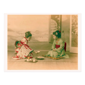 """Women Serving Tea"" お茶を出す女性 日本 着物 ヴィンテージ写真 和風 ポストカード"