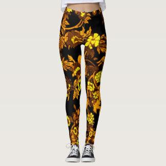 Women's Gold Floral Leggings Beautiful レギンス