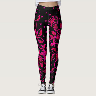 Womens Pink and Black Floral Leggings レギンス